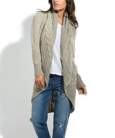 This Beige Cable-Knit Shawl Collar Wool-Blend Open Cardigan is perfect! #zulilyfinds⌘ ♠️@tonjaamenra