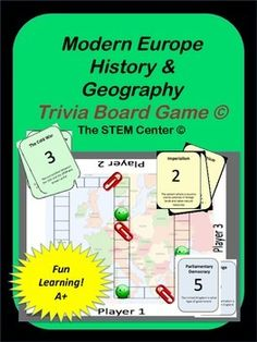 Geography: European Geography & Modern History Trivia Board Game!This game is a great way to learn and review European Geography & its History. The students draw a card (63 cards included), read the clue, and move their game piece (a paper clip) through the board's maze until their is a winner.The game focuses on the following subjects:ProductivityHuman ResourcesThomas NewcomenUnionsStrikesImperialismCommunismHolocaustGenocideWW1WW2The Cold WarNuclear WeaponsNATOSatellite NationsMikhail ...