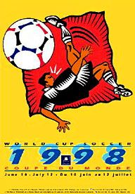 FIFA World Cup France 1998 BICYCLE KICK Official Poster - Fine Art Ltd.-Available at www.sportsposterwarehouse.com