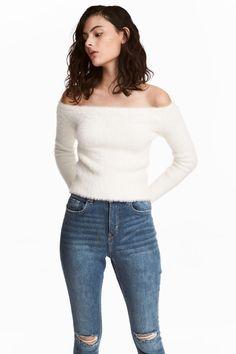 Off-the-shoulder jumper - White - Ladies | H&M GB 1