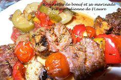 Brochettes de boeuf avec sa marinade