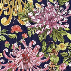 loopinthemind_patterns #watercolour #painting #illustration #art #surfacedesign #oriental #japanese #exotic #chrysanthemum #nature #flowers #blossom #handrawn #artistoninstagram #printoftheday #acuarela #crisantemo #japonés #artistfrombarcelona #Tiger #tigre #floraldesign #surfacespatterns