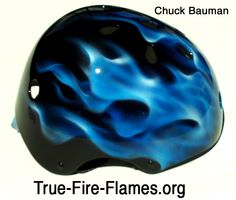 airbrushed helmets | ... of a blue true fire realistic flames airbrushed helmet by Chuck Bauman
