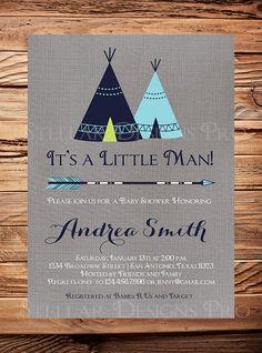 Tribal TEEPEE Baby Shower Invitation Gray by StellarDesignsPro