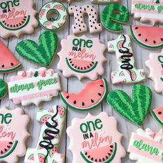 """This theme has been on my """"cookie bucket list"""" for awhile so I was thrilled to have a chance to make these. I just adore the colors and how… Watermelon Birthday Parties, 1st Birthday Party For Girls, First Birthday Themes, First Birthdays, Birthday Ideas, Birthday Photos, 40th Birthday, Watermelon Cookies, Fruit Cookies"""