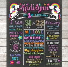 Unicorn First Birthday Chalkboard ANY AGE by TheLovelyDesigns