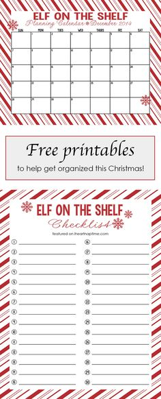 Free printable elf on the shelf calendar and checklist... I'll need this so I don't forget to move him!