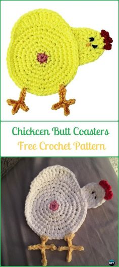Crochet Chicken Butt Coaster Free Pattern - Crochet Coasters Free Patterns Knitting PatternsKnitting For KidsCrochet PatternsCrochet Ideas Crochet Gifts, Diy Crochet, Crochet Doilies, Crochet Flowers, Funny Crochet, Crochet Geek, Crochet Potholders, Crochet Coaster Pattern, Crochet Patterns