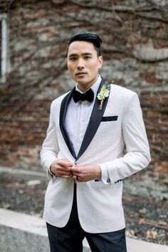 Black and white wedding attire. Black N Yellow, Black And White, White Weddings, White Suits, Yellow Wedding, Groom And Groomsmen, Wedding Attire, Dapper, Wedding Styles