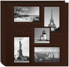 """Pioneer 5-Up Sewn Embossed Collage Frame Photo Album 12""""x12"""" - Brown"""