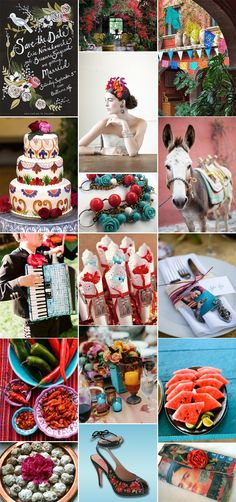 LOVE this board. frida kahlo inspiration, flower in the hair, donkey, turquoise with bright red, save the date cursive font, cake with detailing, mexican wedding cookies, mariachi band, cool fresh fruit on platters for cocktail hour, gorgeous!