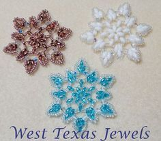 Snowflake 3 Beaded Ornament Pattern by Westtexasjewels on Etsy Beaded Christmas Ornaments, Snowflake Ornaments, Christmas Snowflakes, Christmas Crafts, Christmas Tree, Beaded Snowflake, Xmas, Beaded Jewelry Patterns, Beading Patterns