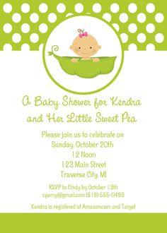 Sweet Pea Baby Shower Invitations - Little Sweet Pea Baby Shower Invites Printable on Etsy, $15.00