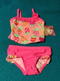 8332dc70d0 Toddler Girls Ocean Pacific OP Two Piece Swimsuit Pink Pineapples 24 Months  #Carters #OnePiece