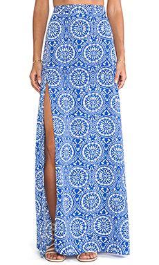 Show Me Your Mumu Mick Slit Maxi Skirt in Mykonos   REVOLVE
