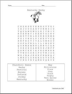 """Word Search: Kentucky Derby - From """"Churchill Downs"""" to """"winner""""."""