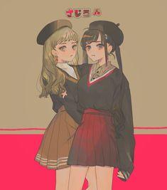 Kawaii Anime, Chica Anime Manga, Aesthetic Anime, Aesthetic Art, Anime Best Friends, Dibujos Anime Chibi, Anime Siblings, Anime Friendship, Bff Drawings