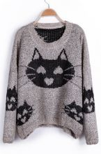 To find out about the Grey Heart Cat Pattern Oversized Pullover Sweater at SHEIN, part of our latest Sweaters ready to shop online today! Cat Sweaters, Pullover Sweaters, Cat Pattern, Sweater Weather, Pulls, My Wardrobe, What To Wear, Cute Outfits, Couture