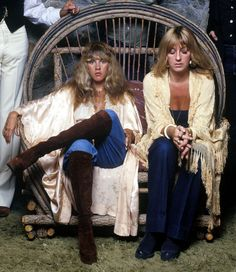 Stevie Nicks and Christine McVie, Fleetwood Mac, 1977 Lindsey Buckingham, Buckingham Nicks, Indie, 60s And 70s Fashion, 70s Vintage Fashion, Seventies Fashion, Stevie Nicks Fleetwood Mac, My Sun And Stars, Cold Weather Outfits