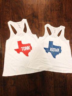 4ee5547067bcf CAMP MYSTIC Flare Tank Top Racerback Team Kiowa Tonkawa Monogram Hunt State  of Texas Boxercraft by