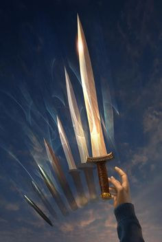 This sword is Percy Jackson's from his father. The sword is named riptide and helps him in every fight. This sword is in a form of a pen but if uncapped turns into a bronze sword. If the cap is pit on the back it turns back into a pen and has celestial bronze ink.
