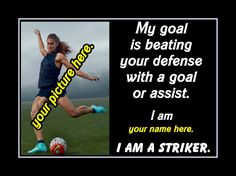 """Soccer Motivation Personalized Custom Poster I AM A Striker Photo Quote Wall Art Print 11x14"""" My Goal Is Beating Your Defense - Free Ship by ArleyArt on Etsy"""