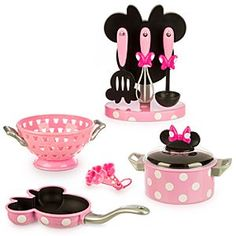 Disney Minnie Mouse Gourmet Cooking Set | Disney StoreMinnie Mouse Gourmet Cooking Set - She'll stir-up hours of imaginary play with Minnie's Gourmet Cooking Set including 12 child-size pieces that will transform any toy kitchen into a foodie fun factory!