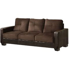 High Quality Furniture Of America Laverne II Microfiber Sofa, Cappuccino And Espresso