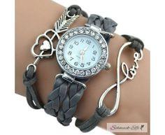 Damen Armbanduhr Infinity LOVE  mit Strass Kunstleder grau