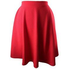 Red Flared Ponte Knit Skater Skirt ($25) ❤ liked on Polyvore featuring skirts, red, red pleated skirt, skater skirts, red knee length skirt, long pleated skirt and a line skirt