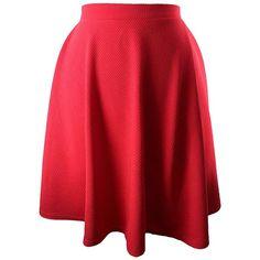 Red Flared Ponte Knit Skater Skirt ($25) ❤ liked on Polyvore featuring skirts, red, skater skirt, flared skirt, knee length a line skirt, red skater skirt and long pleated skirt
