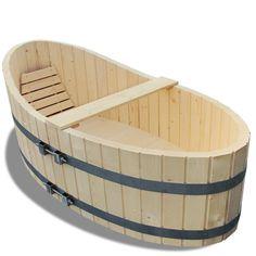 Bañera de Madera 178x87cm Tina con Tapón Obturador para Interior Exterior