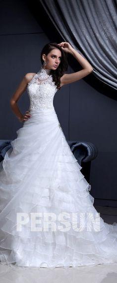 Prinzessin Spitze Applikation Gestuftes weißes Brautkleid