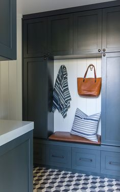 mudroom bench seating + built-in cabinets // Just the After :: Client Holla at La Jolla