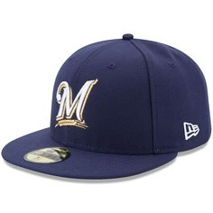 2010f80695f0c Milwaukee Brewers New Era Authentic Collection On Field 59FIFTY Fitted Hat  - Navy