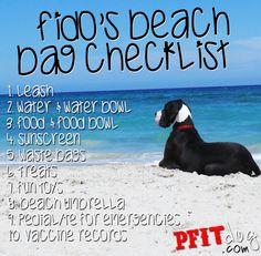 Fido's beach bag checklist + safety tips for hot summer days. #PFITdog