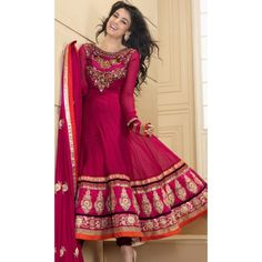 KHK6S4016 - Dark Pink Faux Georgette Anarkali Suit with Dupatta