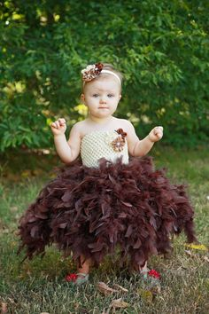 Newborn - Size 5 Ivory and Brown Feather Tutu Dress