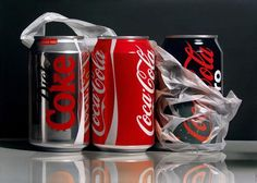 Madrid based painter Pedro Campos presents astonishing pieces of oil on canvas – photorealistic paintings of different subjects – aluminum coke cans, apples wrapped in plastic, glass marbles, and the spines of coffee table art books.