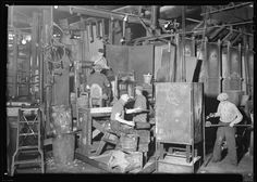 Whitall Tatum green glass shop, March 1930'S-----THIS IS THE FACTORY WHERE THEY USE TO MAKE THE GLASS INSULATORS THAT USE TO BE ON TELEPHONE, TELEGRAPH AND UTILITY LINES