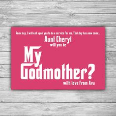 Instant download will you be my godparents wine bottle label godmother card printable digital file will you be my godmother diy pink funny be my fairy godmother card 0022 m4hsunfo
