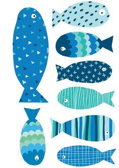 * * *La boite à idées de l' atelier 3B* * *: DIY Poissons d'avril Stone Art Painting, Painting Ceramic Tiles, Ceramic Art, Mondrian Art, Water Patterns, Wooden Fish, Fish Illustration, Beach Wall Decor, Fish Crafts