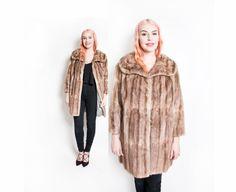 Vintage 1950s Fur Coat  Brown Fur Satin by dejavintageboutique #vintage #fur