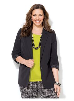 Catherines Plus Size Auteur Bi-Stretch Blazer - Women's Size 1X, Black-The 5 Essential Items To Wear Right Now