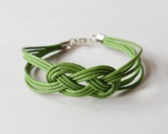 My DIY: Olive Green Leather Bracelet with Sailor Knot by starryday