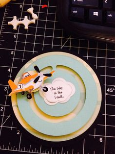 """Dusty planes card he flys """"slides"""" around circle made by Christina garza 2craftysistersstore on Facebook. #plane"""