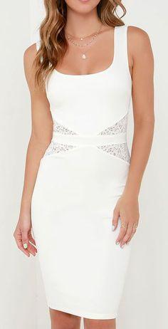 By My Side Ivory Lace Midi Dress