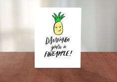 DAAAANNNGG You're A FINEAPPLE! Cute Hand Lettered Illustrated Valentines Day Card for Husband Wife Boyfriend Girlfriend by AdventureofLetters on Etsy
