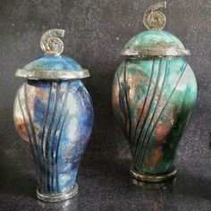 Little and medium raku pottery urn for ashes customizable...you can see blue and turquoise glaze