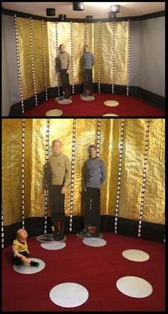 Star Trek TOS Transporter-  I made this using grey bulletin board paper, black bulletin board paper, gold florist foil, black duct tape, blank address labels, 6 large cardboard pizza rounds, silver spray paint, and 6 LED stick-up lights.  This was a fantastic photo op area.